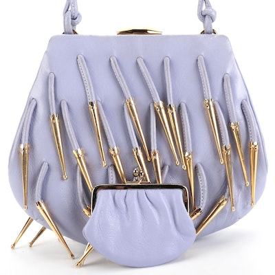 Judith Leiber Lavender Leather Frame Bag with Dangling Metal Tips and Coin Purse