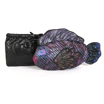 Anne Klein for Calderon Spring Closure Leather Bag and Multicolor Fish Clutch
