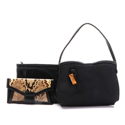 Halston Black Leather Zip Pouch, Varon Python Clutch, and Other Handbag
