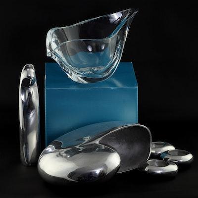 Michael Aram Tea Light Candle Holders, Nambé Glass and Alloy Table Decor