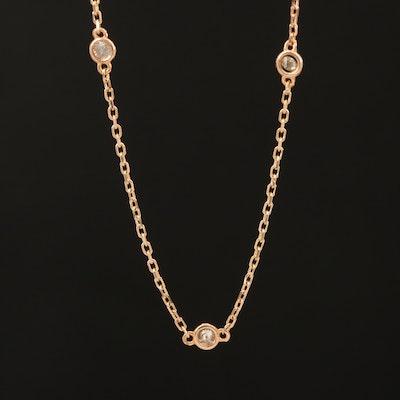 18K Rose Gold 0.27 CTW Diamond Station Necklace