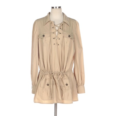 Moschino Cheap and Chic Drawstring Tunic with Lace-Up Neckline