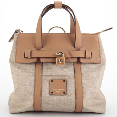 Henri Bendel Jetsetter Satchel in Woven Canvas and Saffiano Leather