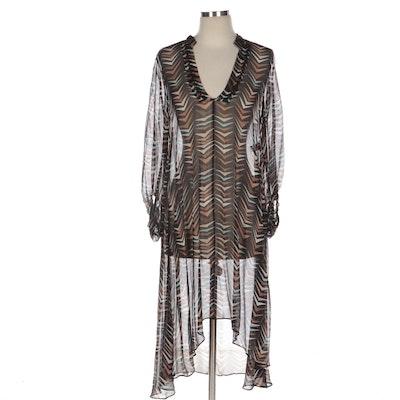 Diane von Furstenberg Geometric Print Sheer Silk Weave Asymmetric Tunic Dress