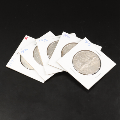 Five 1996 $1 American Silver Eagle Bullion Coins
