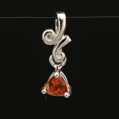 Sterling Garnet Solitaire Pendant with Scrollwork
