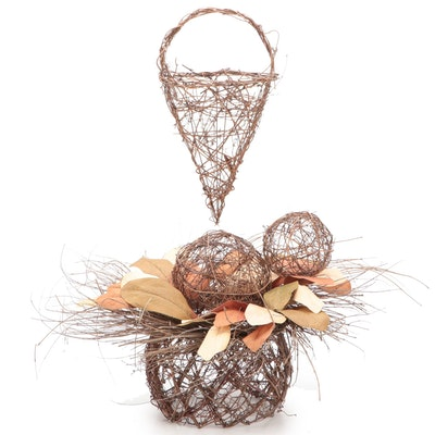 Autumn Wreath and Outdoor Wicker Style Decorations
