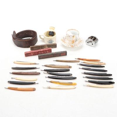 Shaving Brush, Razors, Sharpening Belt, Shaving Mug and Other Shaving Items