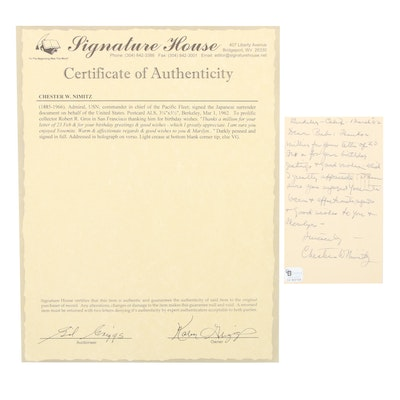 Admiral Chester W. Nimitz USN Signed Personal Note, 1962, COA