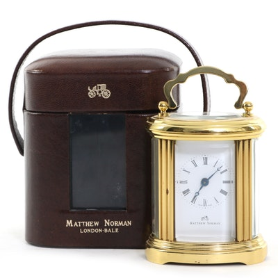 Matthew Norman Oval Brass Carriage Clock with Leather Case