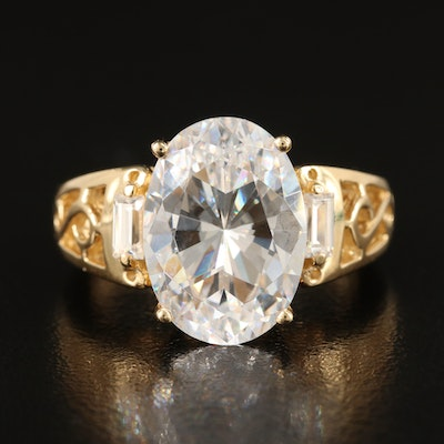 14K Cubic Zirconia Three Stone Ring with Scrollwork Shoulders