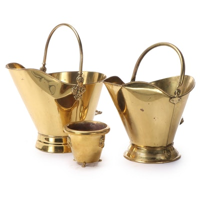 Brass Coal Scuttles with Cache Pot, 20th Century