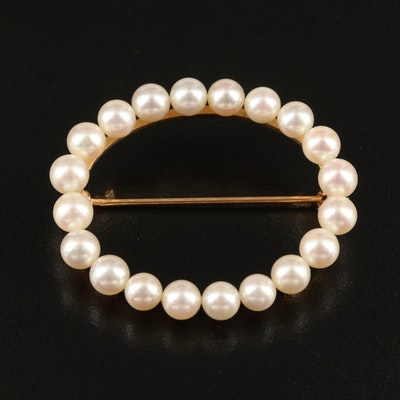 14K Pearl Oval Brooch