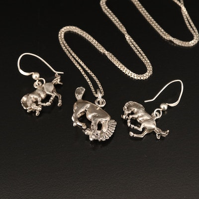 Sterling Bucking Horse Necklace and Earrings Set