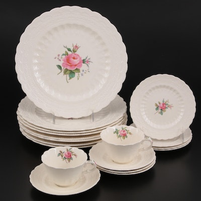 """Spode """"Billingsley Rose Pink"""" Ceramic Dinnerware, Early to Mid 20th Century"""