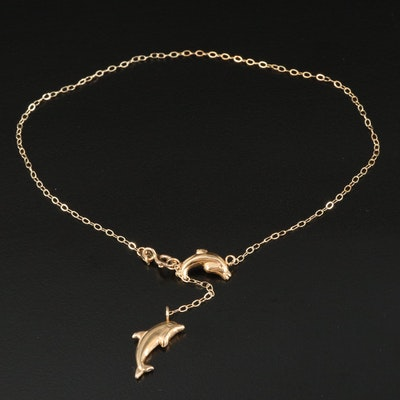 10K Ankle Bracelet with Dolphin Charm