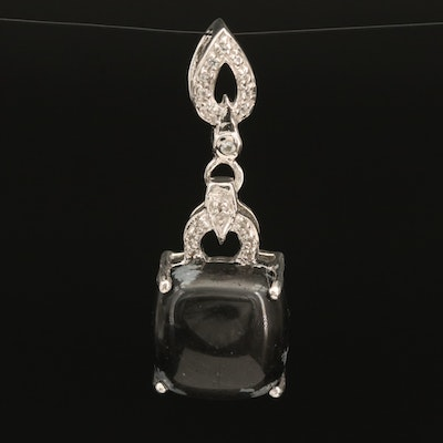 Sterling Snowflake Obsidian and Topaz Drop Pendant