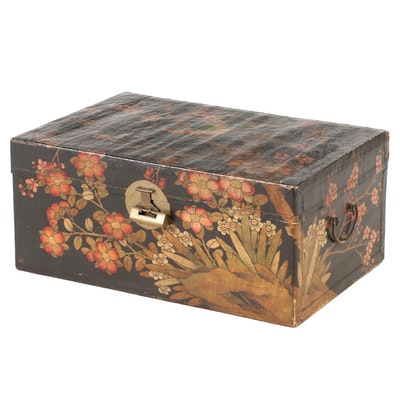 Chinese Paint-Decorated Chest with Lock, Early to Mid 20th Century