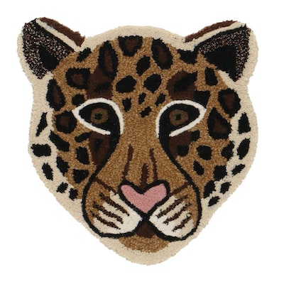 2' x 2' Hand-Tufted Indian Leopard Face Shaped Accent Rug