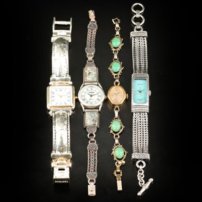 Sterling Ecclissi and Angie Wristwatches with a Wells Stem Wind Chrysoprase Band