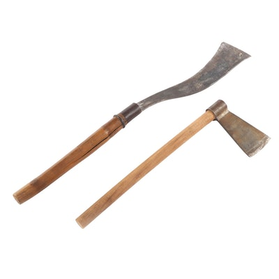 Primitive Style Wood and Bamboo Steel Hatchets, Early to Mid 20th Century