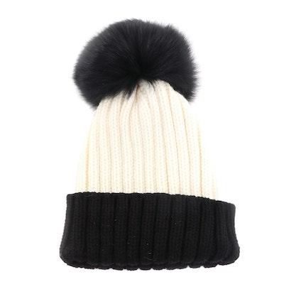 Adrienne Landau Cable-Knit Hat with and Fox Fur Pom-Pom