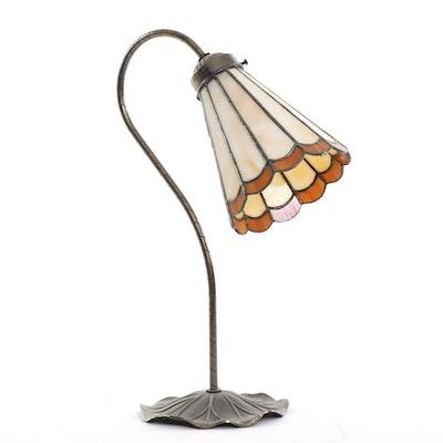 Loevsky & Loevsky Lilypad Brass and Slag Glass Desk Lamp, Mid-20th Century