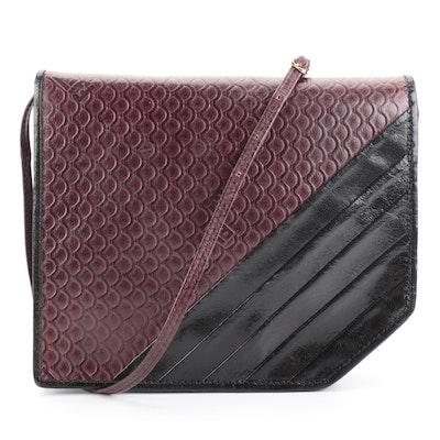 Fendi Flap Front Shoulder Bag in Embossed Aubergine and Black Leather