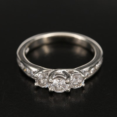 10K 0.81 CTW Diamond Three Stone Trellis Ring
