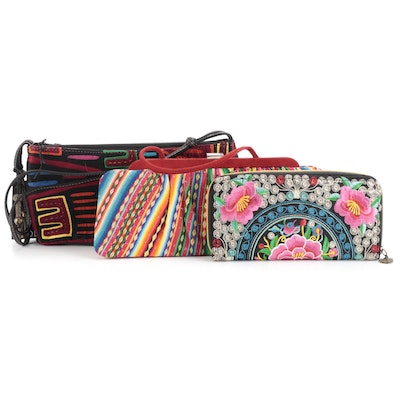 Meche Correa Fabric Frame Bag, Boots N Bags Fabric Bag, and Embroidered Wallet
