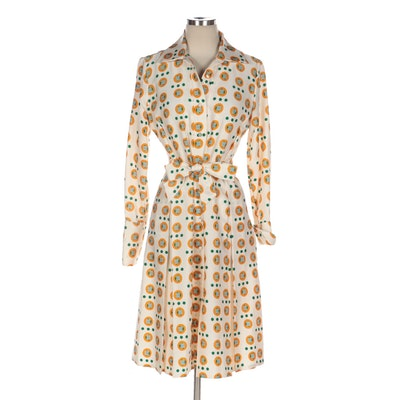 Lanvin Long Sleeve Shirt Dress in Multicolor Printed Woven Fabric with Tie Belt