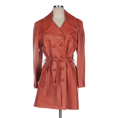 Double-Breasted Leather Coat with Tie Belt