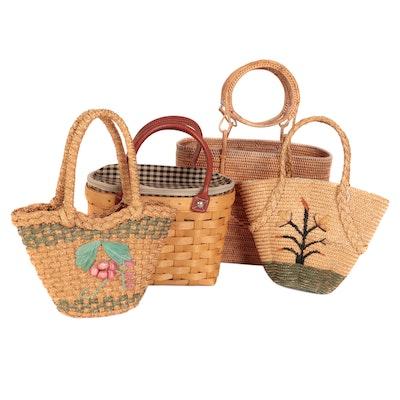 Longaberger Small Boardwalk Basket, Wicker Tote, and Small Embellished Baskets