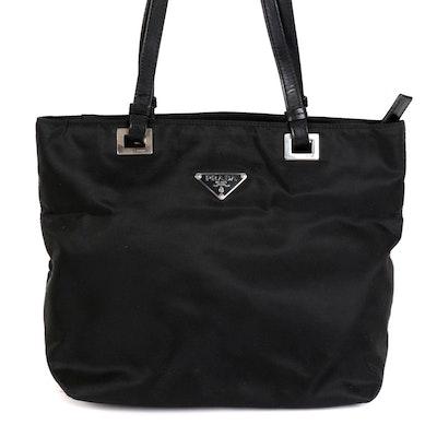 Prada Shoulder Tote in Black Nylon Tessuto and Smooth Black Leather
