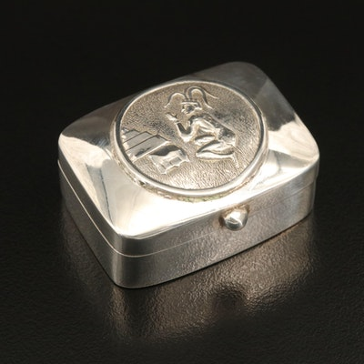 Taxco Mexican Sterling Pill Box with Mayan Figure Cover Design