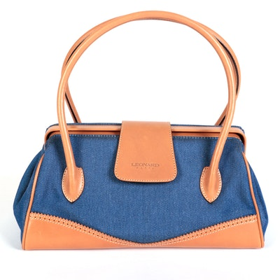 Leonard Paris Frame Handbag in Blue Nylon and Tan Leather