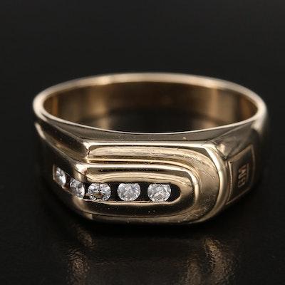 Vintage 10K 0.19 CTW Diamond GM Service Award Ring