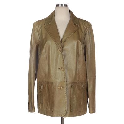 Marina Rinaldi Olive Leather Jacket with Topstitching