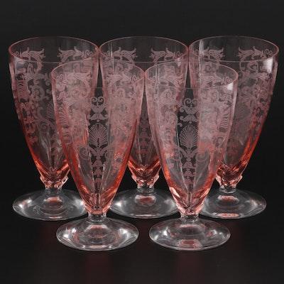 "Fostoria ""Versailles Pink"" Depression Glass Iced Tea Glasses, 1928–1940"