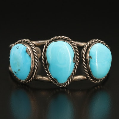 Western Sterling Turquoise Openwork Cuff