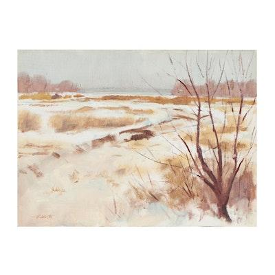Harry Barton Winter Landscape Oil Painting, Mid-20th Century