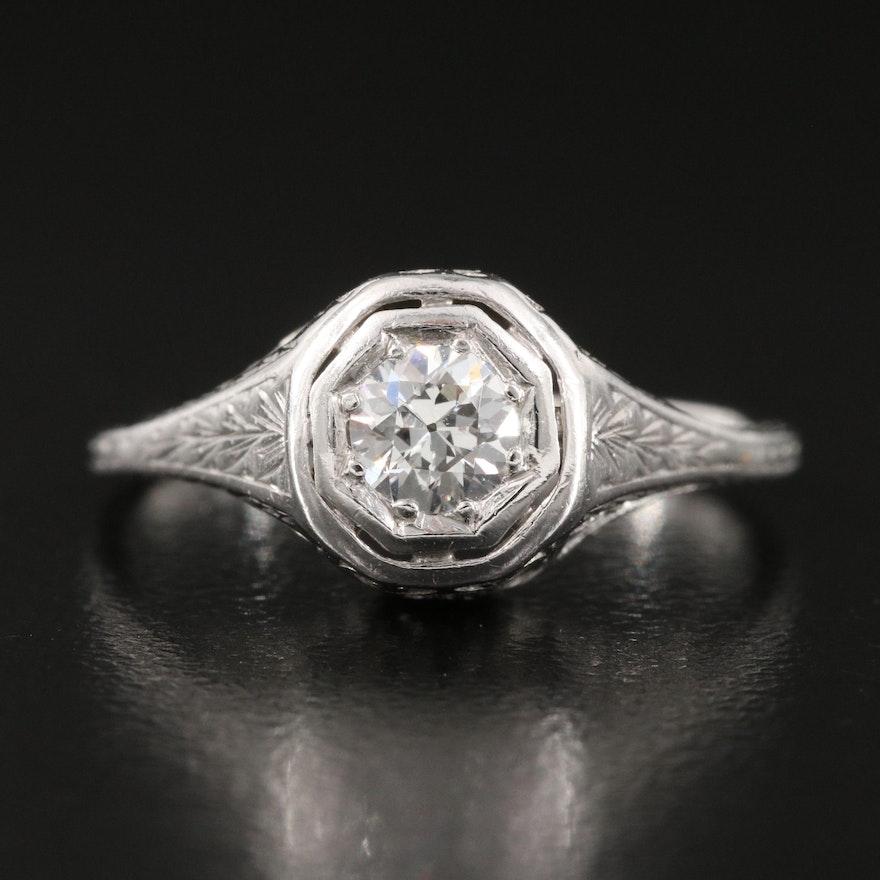 Edwardian Platinum 0.33 CTW Diamond Solitaire Ring