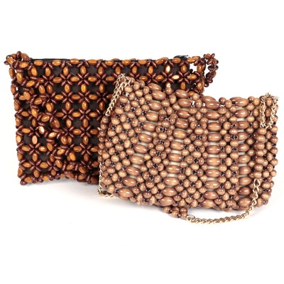 Mid-Century Wood Beaded Handbags