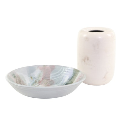 Signed Ceramic Art Pottery Vase and Bowl