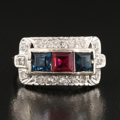 Vintage 14K Sapphire, Ruby and Diamond Ring