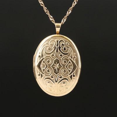 14K Scrollwork Locket Necklace