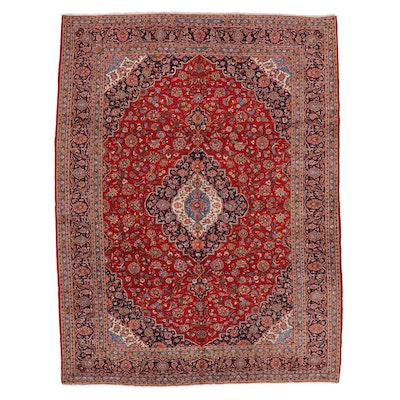 9'9 x 13' Hand-Knotted Persian Kashan Room Sized Rug