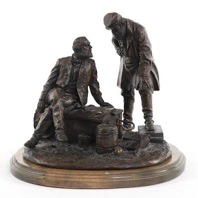 """Ron Tunison Civil War Cold Cast Sculpture """"Lee and Jackson"""""""