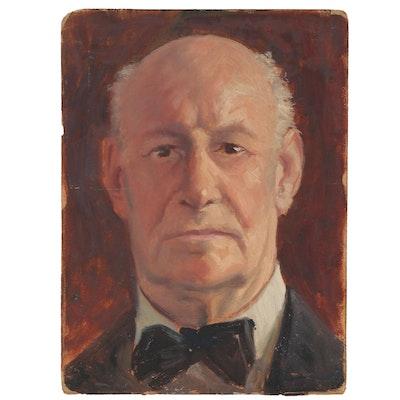 Oil Portrait Study of Man, Mid-20th Century