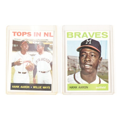 1964 Hank Aaron Topps #300 and #423 with Willie Mays Baseball Cards